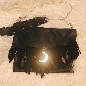 Handbags - Black fringe moon quartz purse
